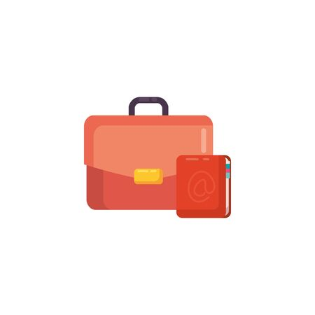 Suitcase bag and notebook fill style icon design, Case office school university travel baggage luggage handle leather and trip theme Vector illustration Illusztráció