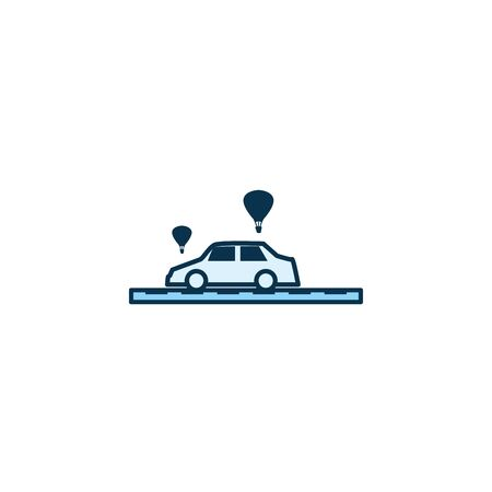 Car vehicle and hot air balloons line style icon design, Transportation travel trip urban motor speed fast and driving theme Vector illustration