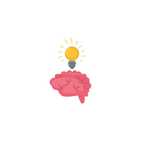 Human brain and light bulb fill style icon design, Organ mind science intelligence idea medical head and education theme Vector illustration