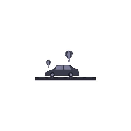 Car vehicle and hot air balloons fill style icon design, Transportation travel trip urban motor speed fast and driving theme Vector illustration