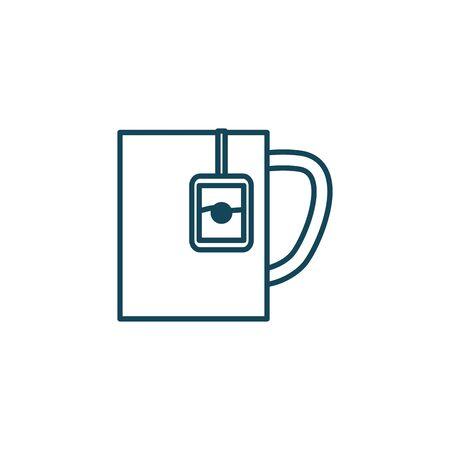 Tea mug line style icon design, Time drink breakfast beverage hot porcelain ceramic english and invitation theme Vector illustration Иллюстрация