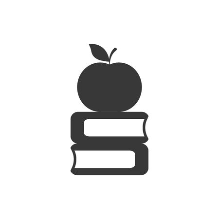 School apple and books silhouette style icon design, Eduaction class lesson knowledge preschooler study learning classroom and primary theme Vector illustration 矢量图像