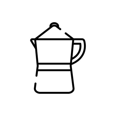 Coffee pot line style icon design of time drink breakfast beverage morning store aroma and caffeine theme Vector illustration