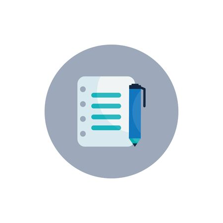 Document and pen flat block style icon design, Data archive storage organize business office and information theme Vector illustration