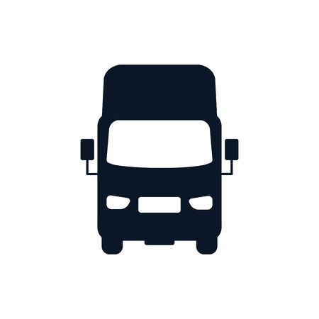 Truck vehicle silhouette style icon design, Transportation travel trip urban motor speed fast and driving theme Vector illustration