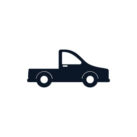Pickup car vehicle silhouette style icon design, Transportation travel trip urban motor speed fast and driving theme Vector illustration