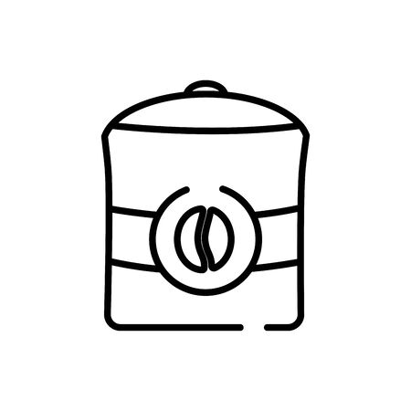 Coffee box line style icon design of time drink breakfast beverage morning store aroma and caffeine theme Vector illustration