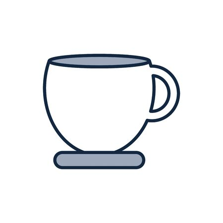 Coffee mug half line half color style icon design of time drink breakfast beverage shop morning store aroma and caffeine theme Vector illustration Иллюстрация