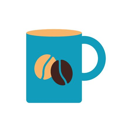 Coffee mug flat style icon design of time drink breakfast beverage morning store aroma and caffeine theme Vector illustration Иллюстрация