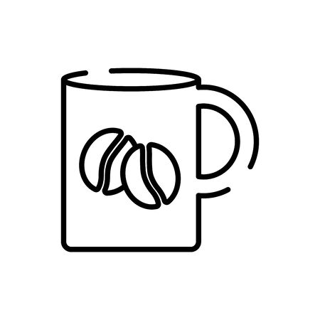 Coffee mug line style icon design of time drink breakfast beverage morning store aroma and caffeine theme Vector illustration