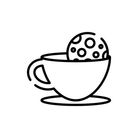 Coffee cup and cookie line style icon design of time drink breakfast beverage morning store aroma and caffeine theme Vector illustration Иллюстрация