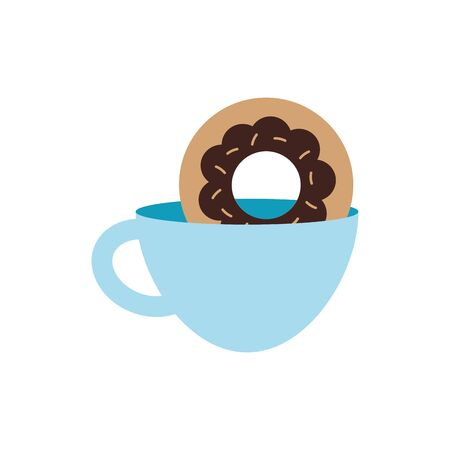 Coffee cup and donut flat style icon design of time drink breakfast beverage morning store aroma and caffeine theme Vector illustration