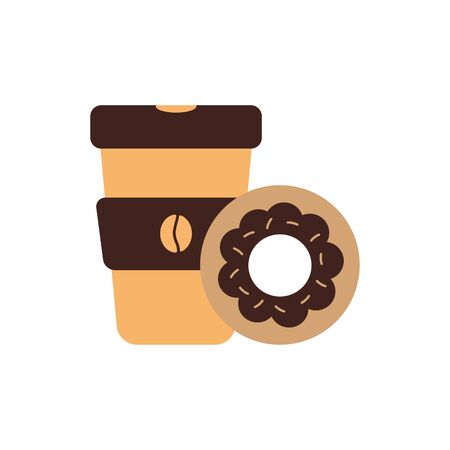 Coffee mug and donut flat style icon design of time drink breakfast beverage morning store aroma and caffeine theme Vector illustration Иллюстрация