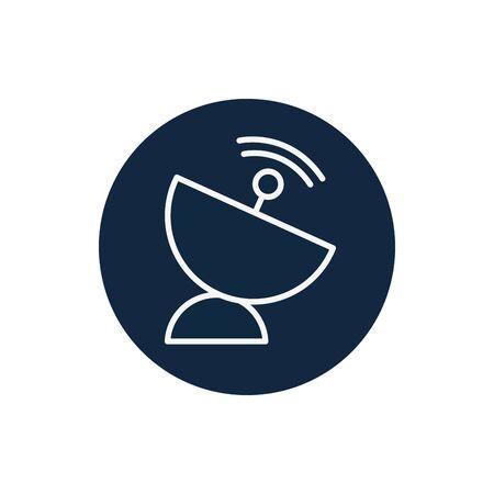 Antenna line block style icon design, Signal broadcast internet technology wireless radio communication information and satellite theme Vector illustration