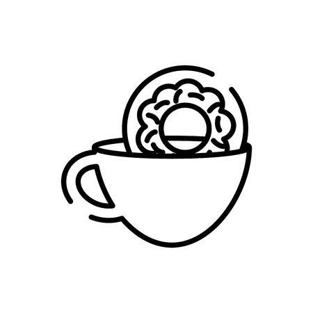 Coffee cup and donut line style icon design of time drink breakfast beverage morning store aroma and caffeine theme Vector illustration