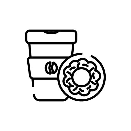 Coffee mug and donut line style icon design of time drink breakfast beverage morning store aroma and caffeine theme Vector illustration Иллюстрация