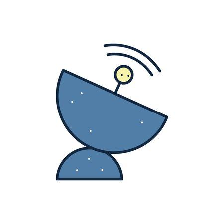 Antenna line fill style icon design, Signal broadcast internet technology wireless radio communication information and satellite theme Vector illustration
