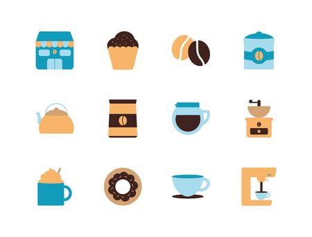 Coffee flat style icon set design of time drink breakfast beverage morning store aroma and caffeine theme Vector illustration
