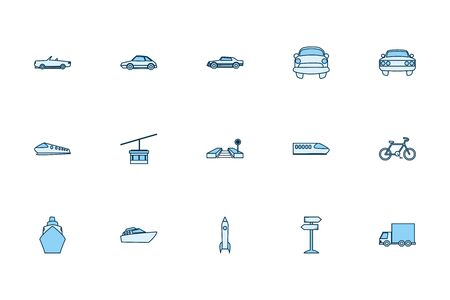 Vehicles line style icon set design, Transportation travel trip urban motor speed fast and driving theme Vector illustration