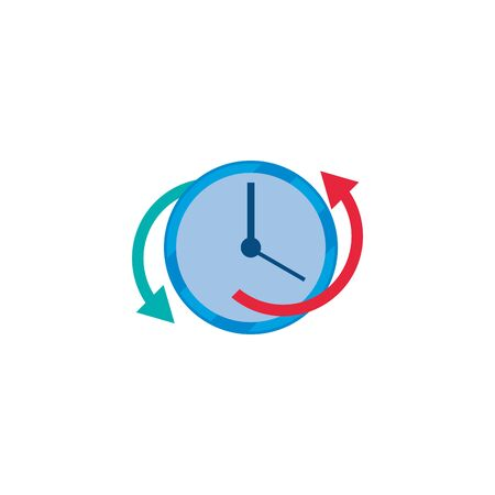Clock instrument and repeat arrows fill style icon design, Time tool watch second deadline measure countdown and object theme Vector illustration