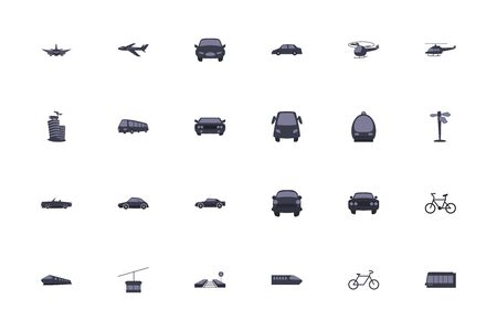 Vehicles fill style icon set design, Transportation travel trip urban motor speed fast and driving theme Vector illustration  イラスト・ベクター素材