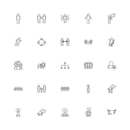 Avatars line style icon set design of Person profile social communication human user partnership member and figure theme Vector illustration Illusztráció