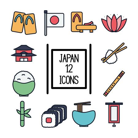 Japanese house line fill icon design, Japan culture asia travel landmark famous asian and oriental theme Vector illustration