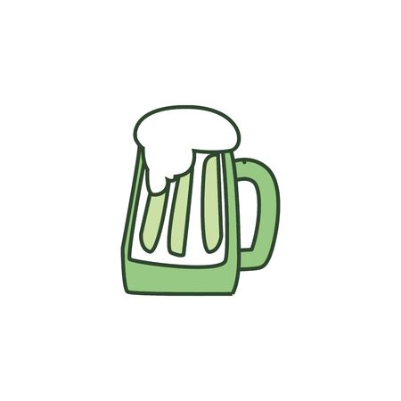 Beer glass line style icon design, Pub alcohol bar brewery drink ale and lager theme Vector illustration