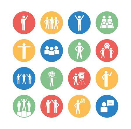 Avatars block silhouette style icon set design of Person profile social communication human user partnership member and figure theme Vector illustration
