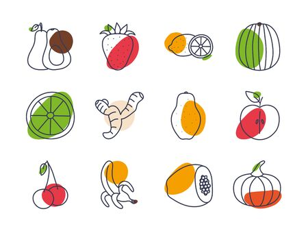 Fruits and vegetables line color style icon set design, healthy organic food fresh natural market product quality and restaurant theme Vector illustration