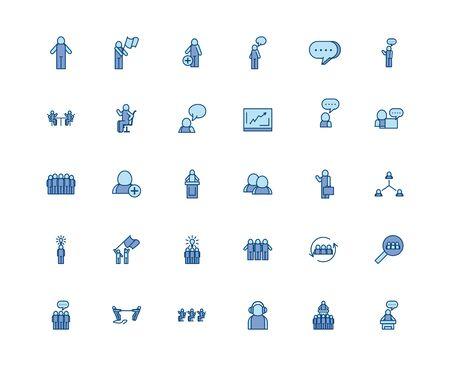 Avatars line and fill style icon set design of Person profile social communication human user partnership member and figure theme Vector illustration Illusztráció