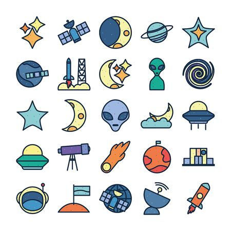 line fill style icon set of Space futuristic cosmos outside universe astronomy adventure and exploration theme Vector illustration Reklamní fotografie - 140528897