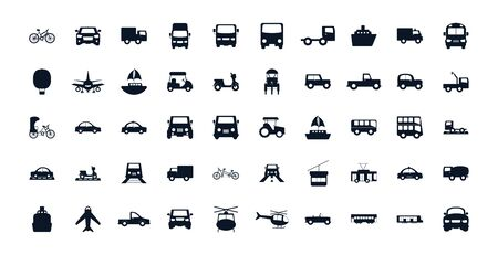 Vehicles silhouette style icon set design, Transportation travel trip urban motor speed fast and driving theme Vector illustration