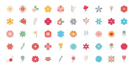 Flowers flat style icon set design, floral nature plant ornament garden decoration and botany theme Vector illustration