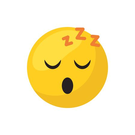 Sleepy emoji face flat style icon design, Cartoon expression cute emoticon character profile facial toy adorable and social media theme Vector illustration