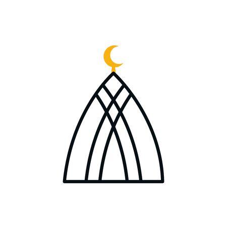 Ramadan mosque half line half color style icon design, Islamic muslim religion culture belief religious faith god spiritual meditation and traditional theme Vector illustration Ilustração