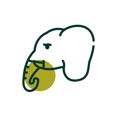 Elephant half line half color style icon design, Biodiversity life natural nature and adorable theme Vector illustration