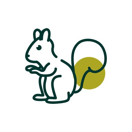 Squirrel half line half color style icon design, Biodiversity life natural nature and adorable theme Vector illustration
