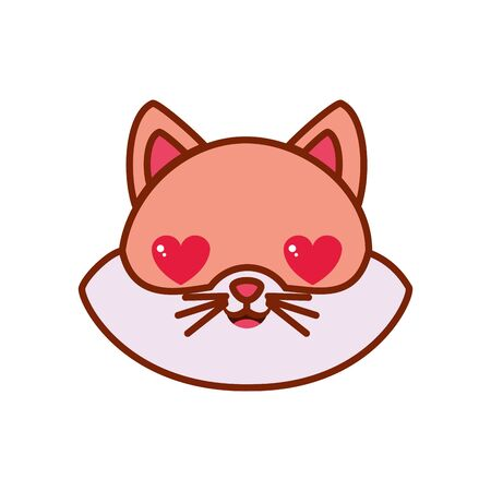 Cute kawaii cat cartoon in love line and fill style icon design, Animal zoo life nature character childhood and adorable theme Vector illustration Иллюстрация