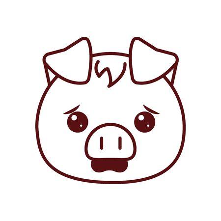 Cute kawaii pig cartoon line style icon design, Animal zoo life nature character childhood and adorable theme Vector illustration