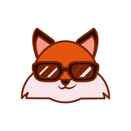Cute kawaii fox cartoon with glasses line and fill style icon design, Animal zoo life nature character childhood and adorable theme Vector illustration Ilustrace