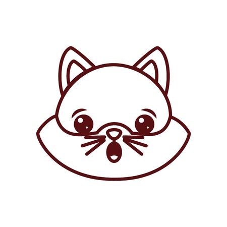 Cute kawaii cat cartoon line style icon design, Animal zoo life nature character childhood and adorable theme Vector illustration