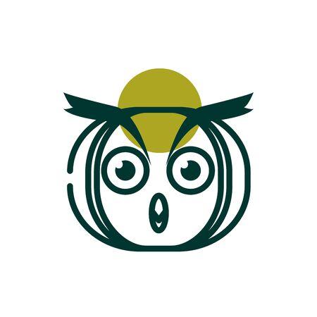 Owl half line half color style icon design, Biodiversity life natural nature and adorable theme Vector illustration Ilustrace