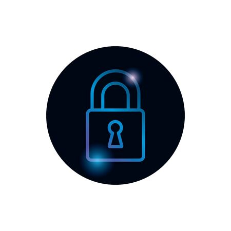 Padlock gradient style icon design of Security lock access door house safe safety and protection theme Vector illustration
