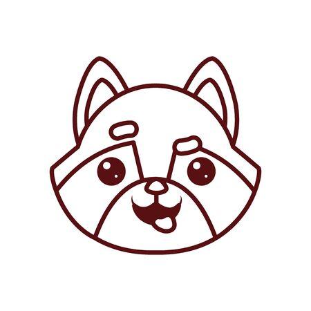 Cute kawaii raccoon cartoon line style icon design, Animal zoo life nature character childhood and adorable theme Vector illustration