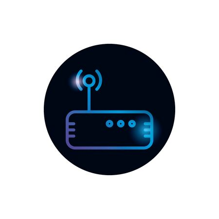 Wifi machine gradient style icon design, Internet technology communication connection network wireless signal web and access theme Vector illustration
