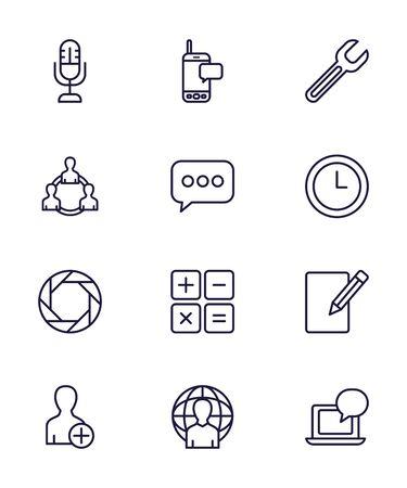 line style icon set design, Social media multimedia communication digital marketing internet web and connect theme Vector illustration