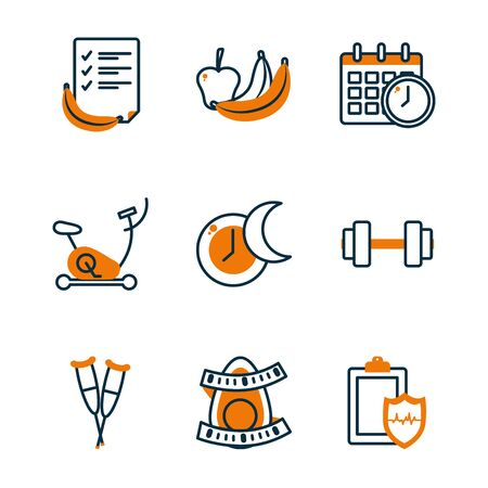 Half line half color style icon set design, healthy lifestyle fitness gym bodybuilding bodycare fit activity exercise and workout theme Vector illustration Illustration