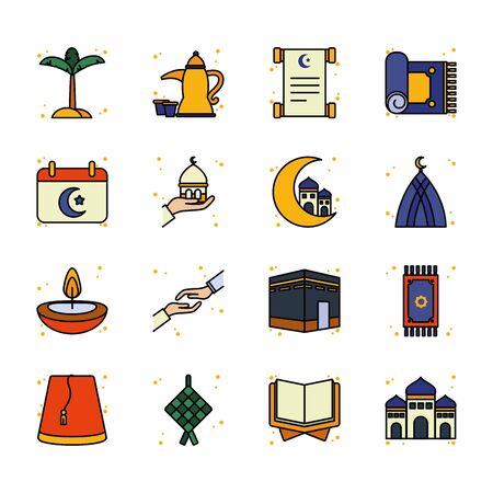 Ramadan line and fill style icon set design, Islamic muslim religion culture belief religious faith god spiritual meditation and traditional theme Vector illustration