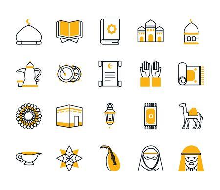 Ramadan half line half color style icon set design, Islamic muslim religion culture belief religious faith god spiritual meditation and traditional theme Vector illustration